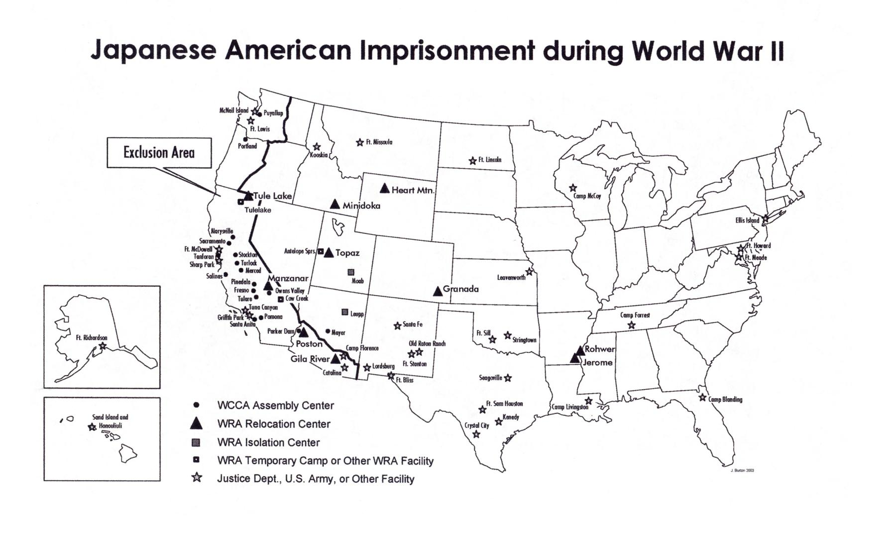 Image Bibliography - Map of japanese internment camps in us