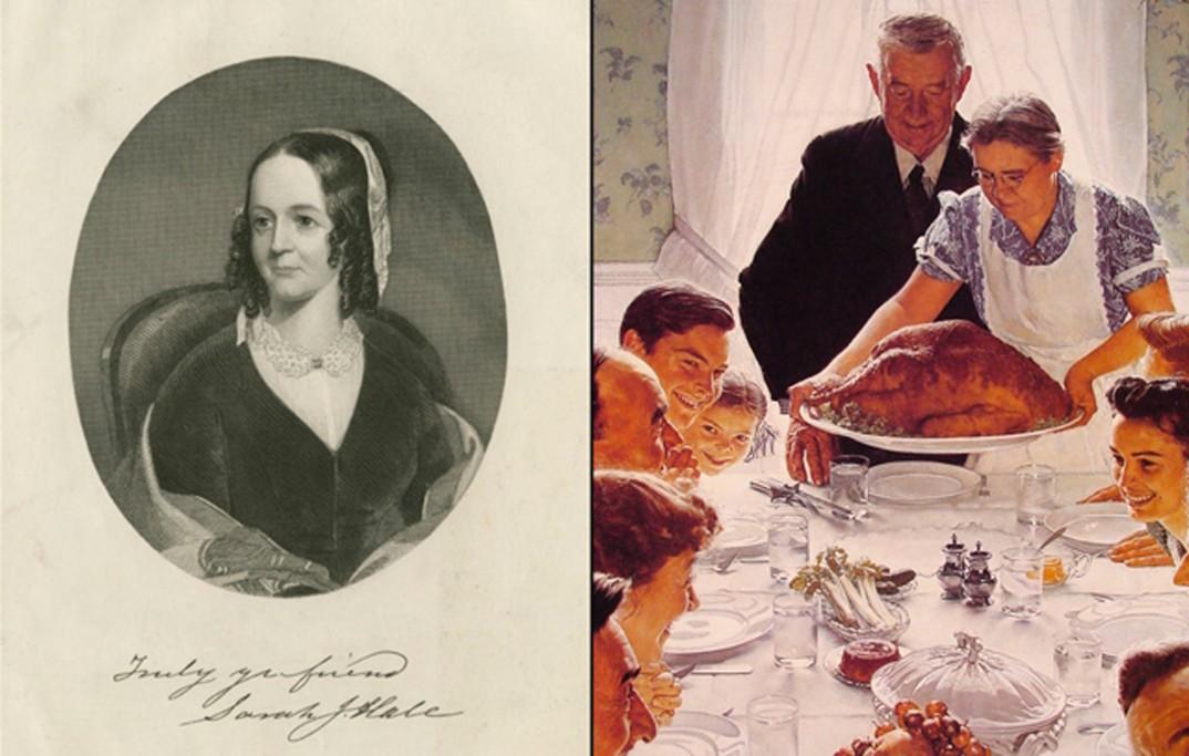 Til venstre: Sarah Josepha Hale. Til høyre: Utsnitt av Norman Rockwells ikoniske Thanksgiving-maleri.