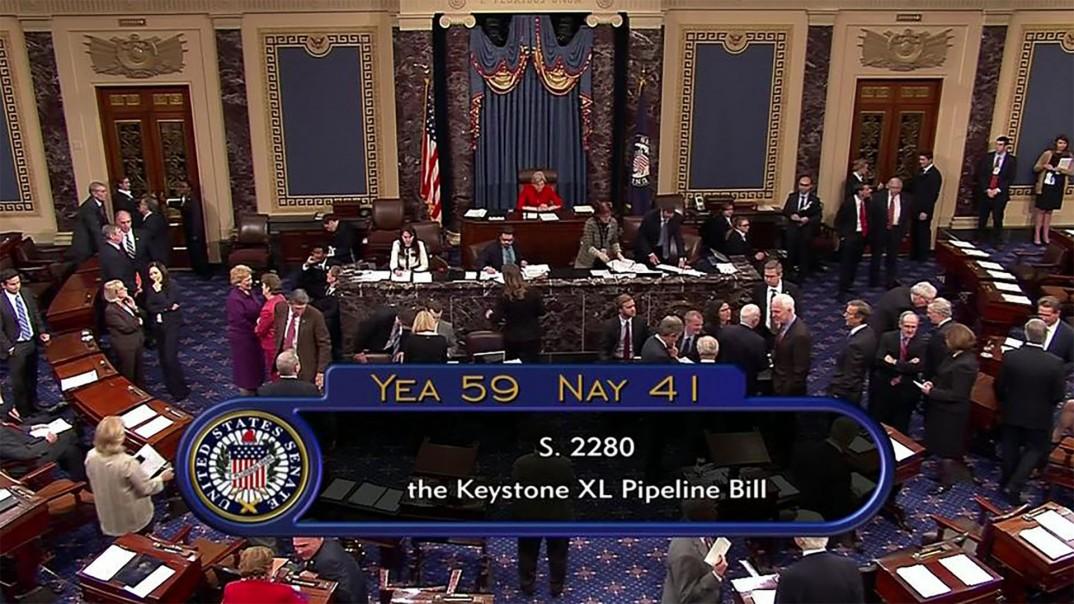 Skjermbilde av gårsdagens Keystone XL-avstemning i Senatet.
