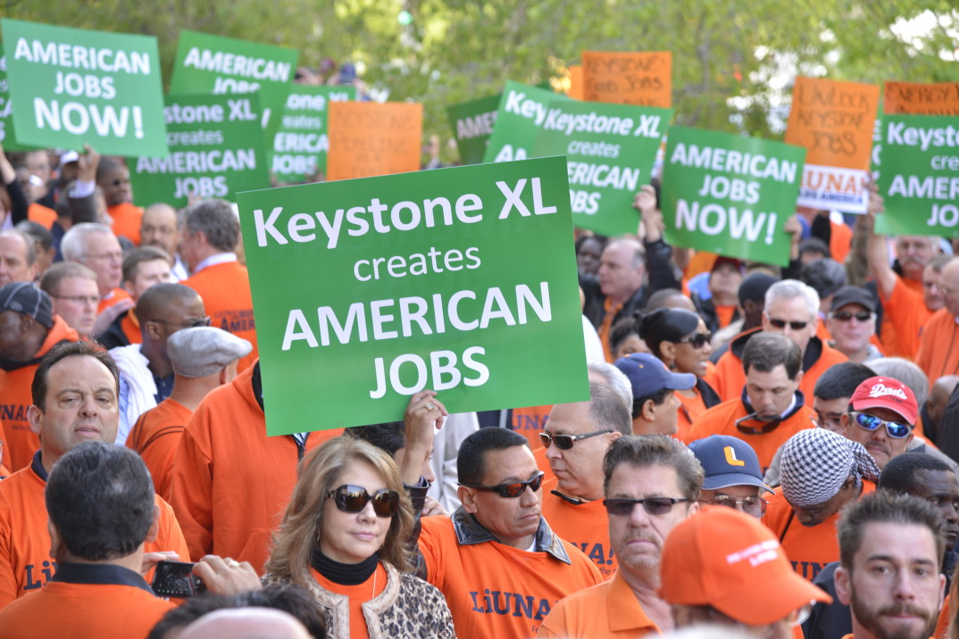 Laborers' International Union of North America demonstrerer for Keystone XL