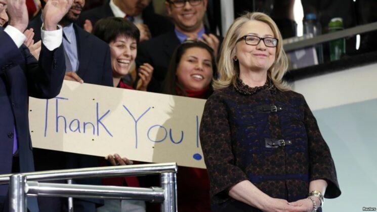Hillary Clinton under en avskjedsmarkering i Det amerikanske utenriksdepartementet i 2013.