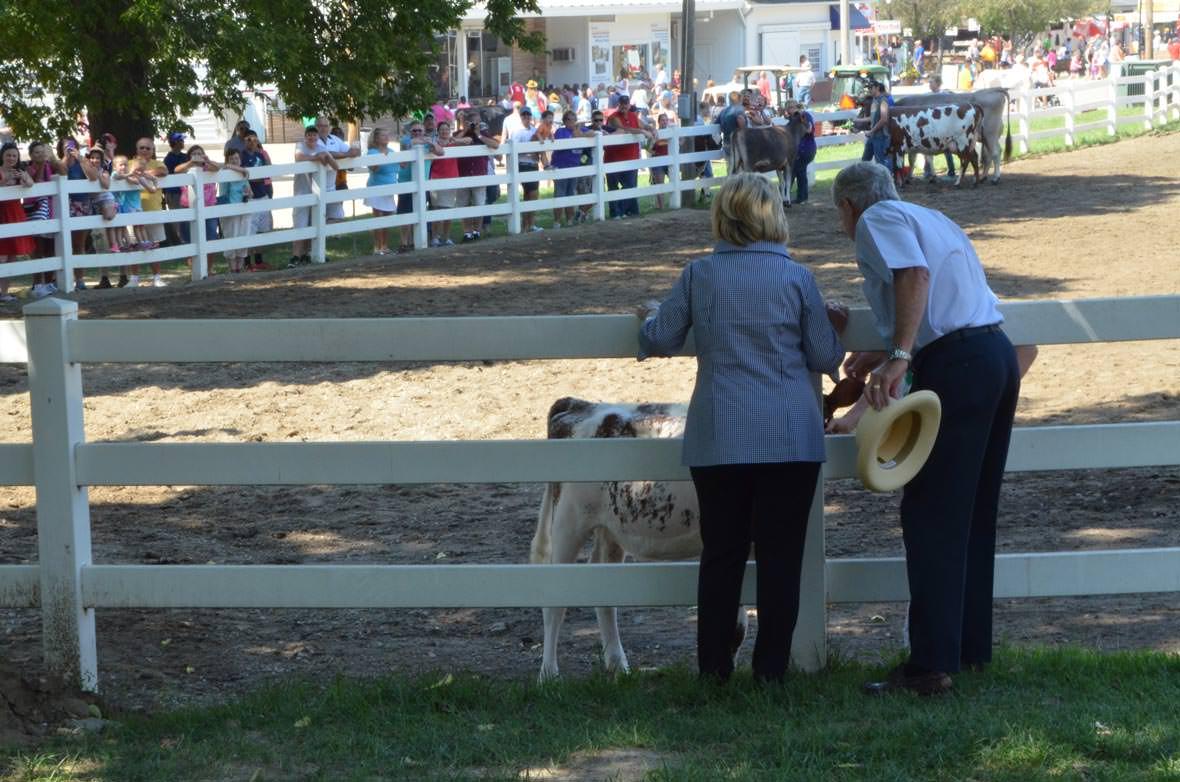 Hillary Clinton og tidligere senator Tom Harkin på Iowa State Fair, lørdag 15. august. Foto: Are Tågvold Flaten, AmerikanskPolitikk.no.